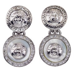 GIANNI VERSACE WHITE AND SILVER DANGLING EARRINGS WITH MEDUSA