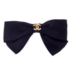 CHANEL BLACK BOW HAIR BARRETTE WITH CC