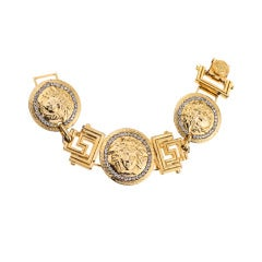 Gianni Versace Massive Gold Medusa And Greca Motif Bracelet