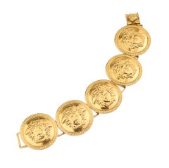 Gianni Versace Massive Gold Toned Bracelet With 5 Medusa