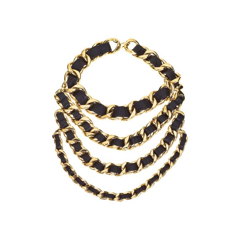 CHANEL MASSIVE BLACK/GOLD CHAIN 4 ROW NECKLACE 1