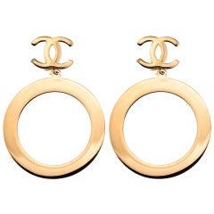 Vintage Chanel Massive Hoop Dangling Earrings