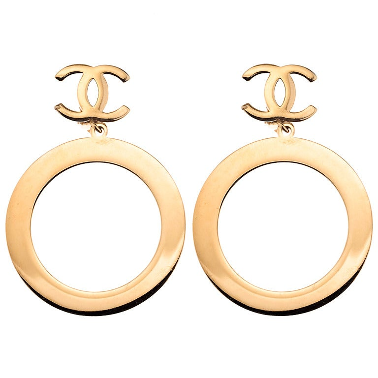 Vintage Chanel Massive Hoop Dangling Earrings 1