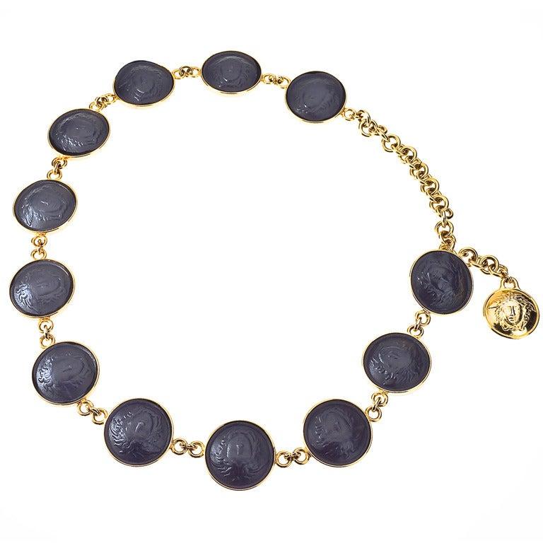 Gianni Versace Black/Gold Medusa Belt/Necklace For Sale