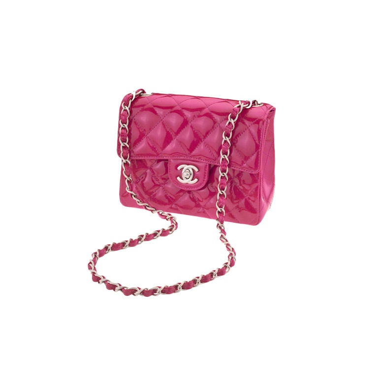 CHANEL PINK PATENT MINI SHOULDER  QUILTED BAG