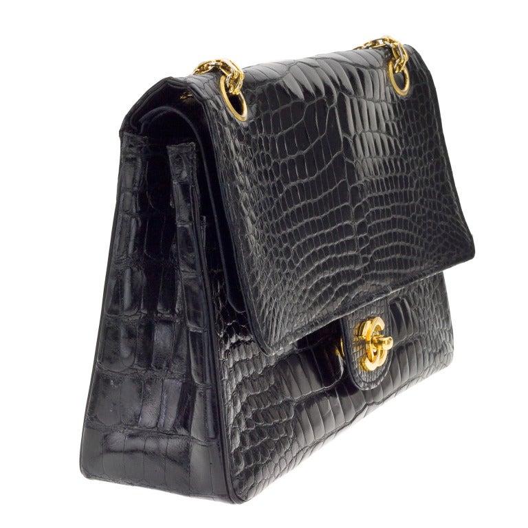 chanel crocodile flap bag at 1stdibs