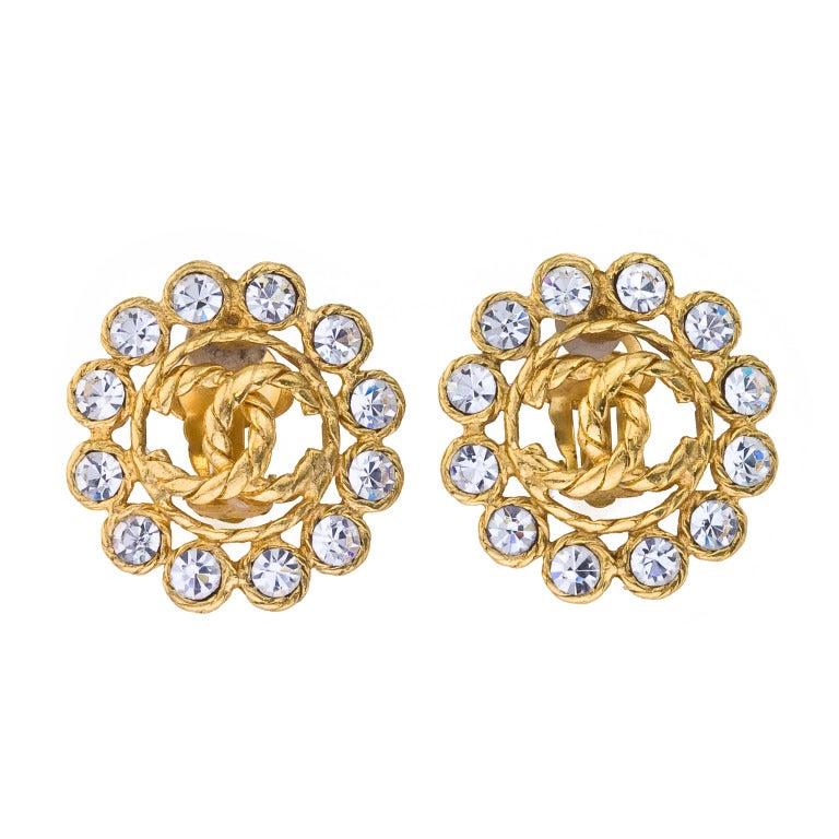 Vintage Chanel Rhinestone CC Clip-on Earrings 1