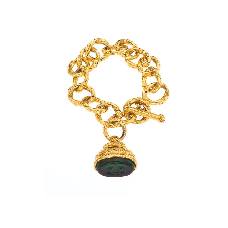 chanel gripoix stamp bracelet at 1stdibs