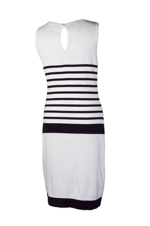 CHANEL BLACK/WHITE LOGO STRIPED DRESS 2