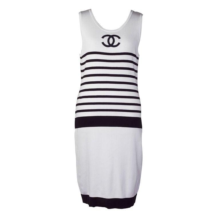 CHANEL BLACK/WHITE LOGO STRIPED DRESS 1