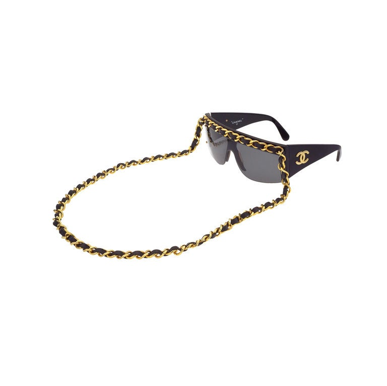 Chanel Gold And Black Chain Sunglasses 1