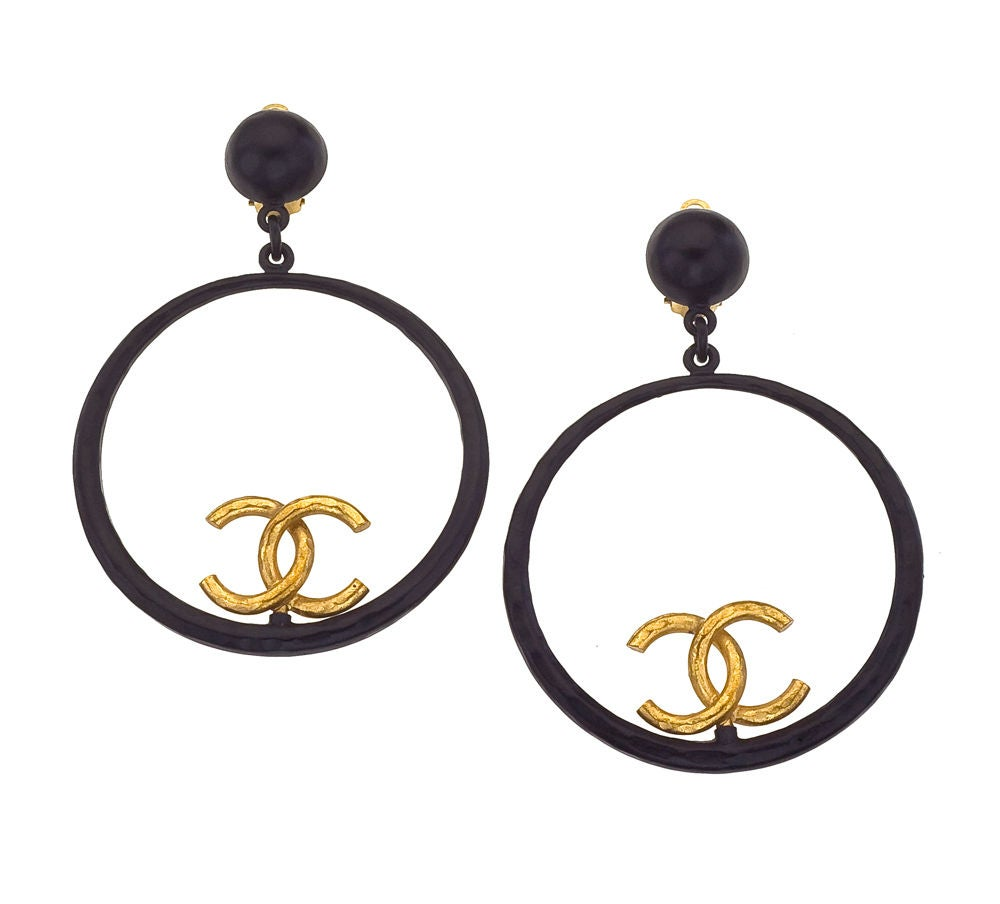 Chanel Large Black and Gold Hoop Earrings 2