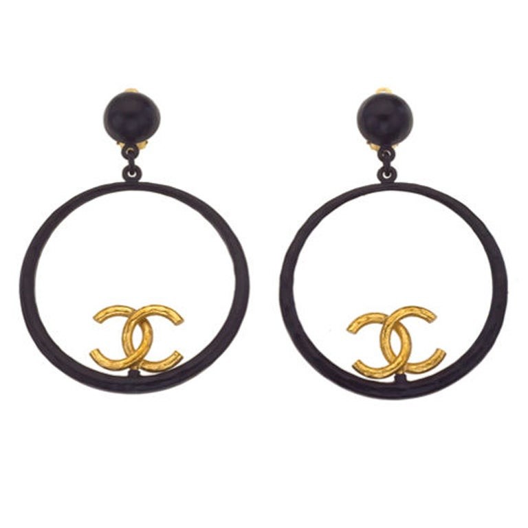Chanel Large Black and Gold Hoop Earrings 1