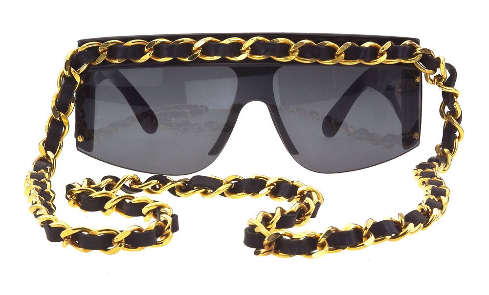 Chanel Gold And Black Chain Sunglasses 2