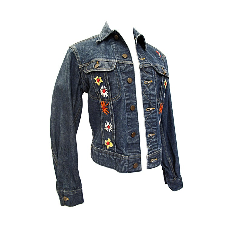 VINTAGE LEE Denim Jacket With Floral Embroidery At 1stdibs
