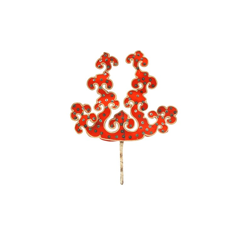 1930s Silk and Sequin Oriental Tierra Hairpin
