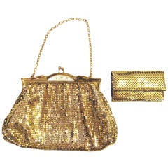 Whiting & Davis Gold Mesh Purse with Mother of Pearl and Key Holder