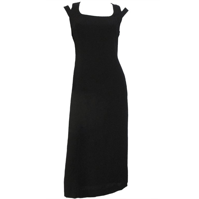 1990s State of Claude Montana Black Column Dress