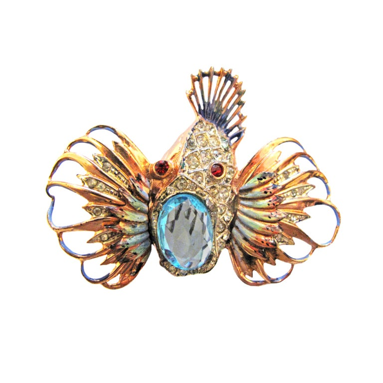 COROCRAFT ENCRUSTED OPEN MOUTH FISH BROOCH 1