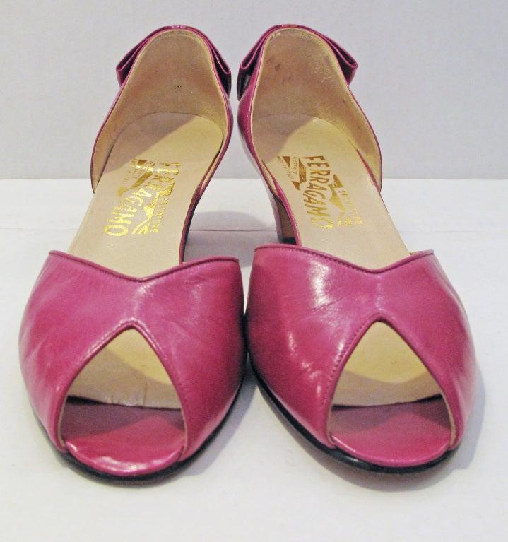 Ferragamo Pink Peep Toe Back Bow Pumps 3