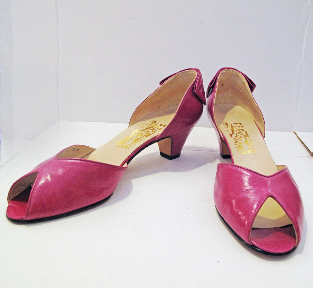 Ferragamo Pink Peep Toe Back Bow Pumps 2