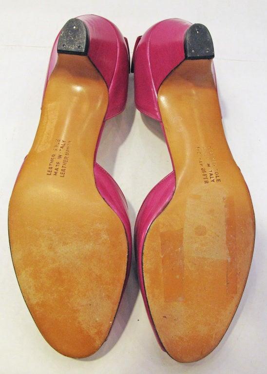 Ferragamo Pink Peep Toe Back Bow Pumps 5
