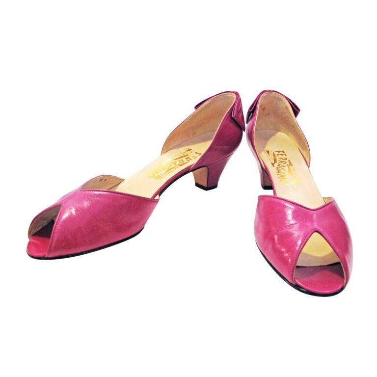 Ferragamo Pink Peep Toe Back Bow Pumps 1