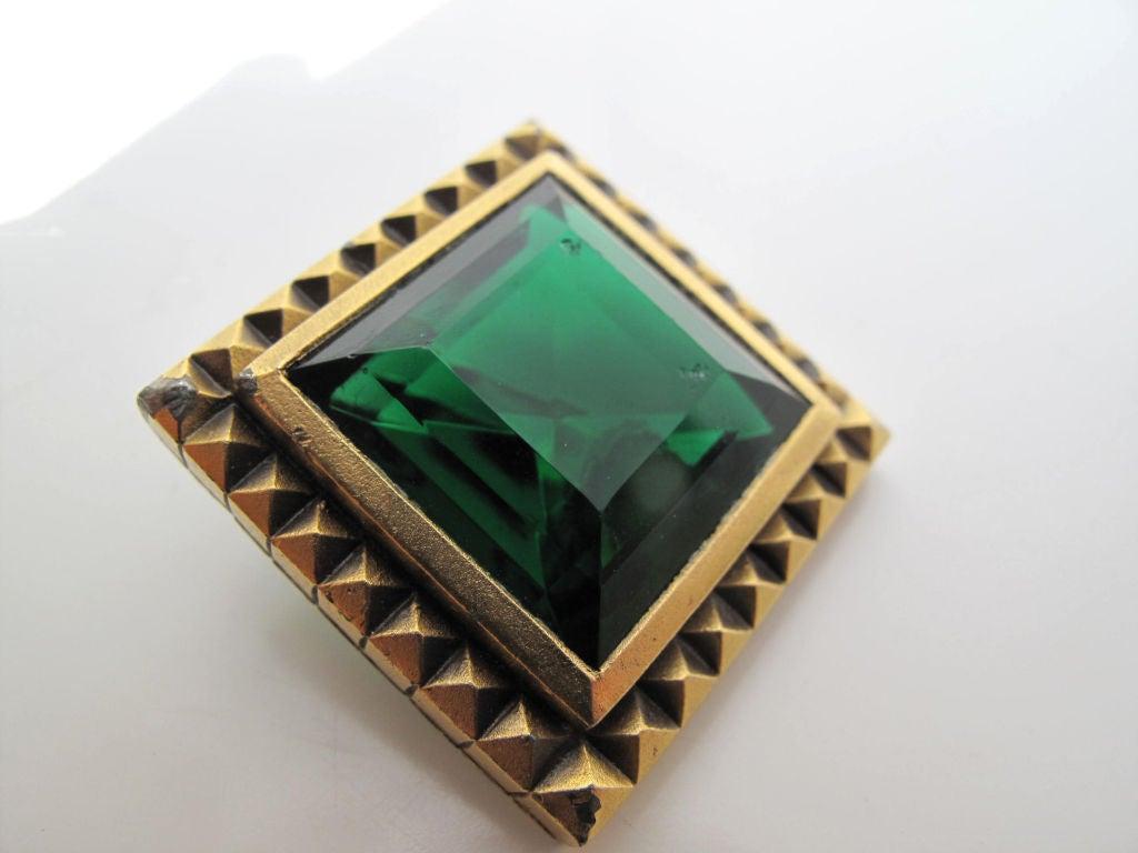 YSL Emerald Green Clip-On Earrings 3