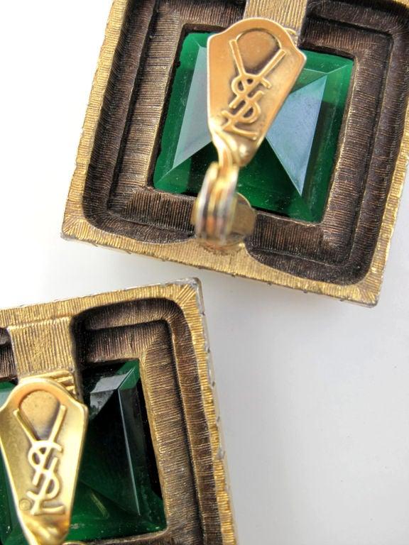 YSL Emerald Green Clip-On Earrings 4