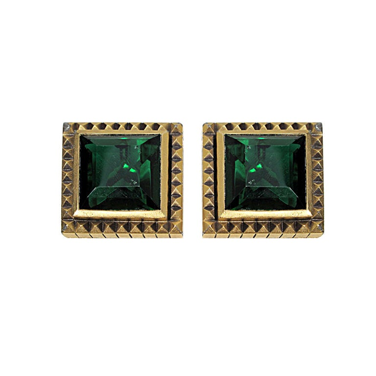 YSL Emerald Green Clip-On Earrings