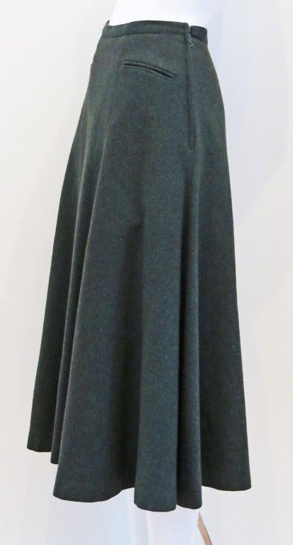 Guy Laroche Green Tweed Flared Skirt At 1stdibs