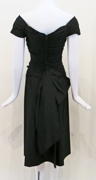 1950s Rouched Black Evening Dress In Excellent Condition For Sale In Brooklyn, NY