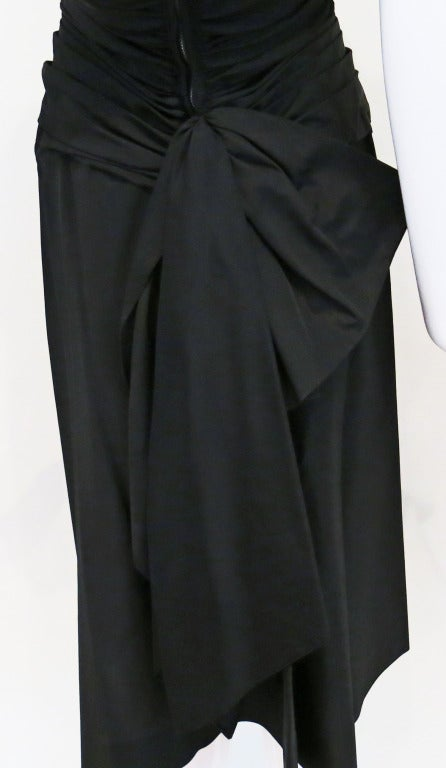 Women's 1950s Rouched Black Evening Dress For Sale