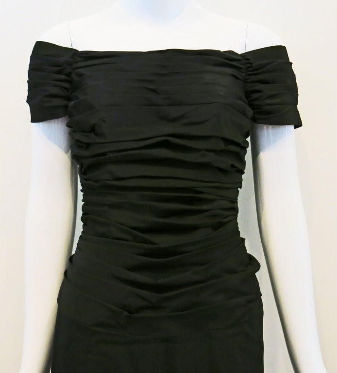 1950s Rouched Black Evening Dress For Sale 1