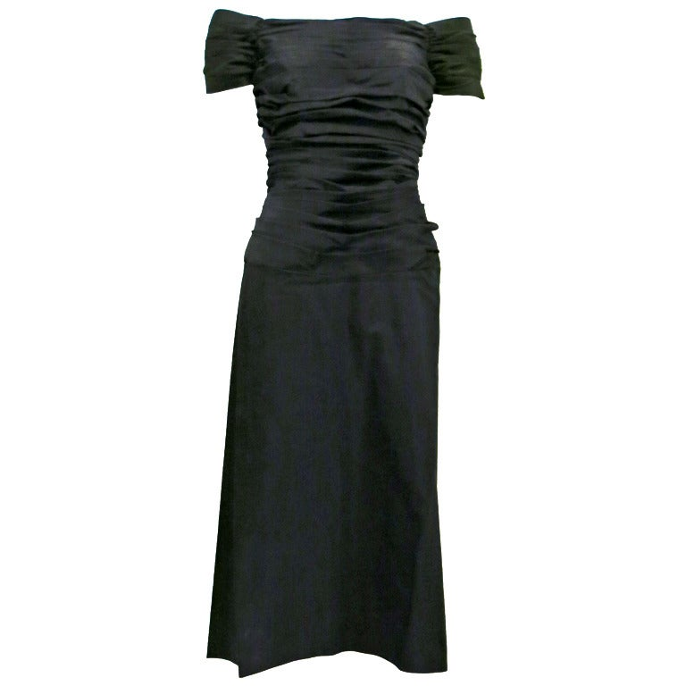 1950s Rouched Black Evening Dress For Sale