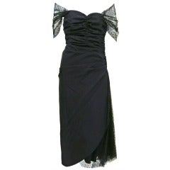 1950s Black Tulle Strapless Dress with Sheer Capelet