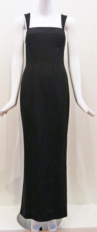 Thierry Mugler 90s Black Body Con Full Length Dress 2