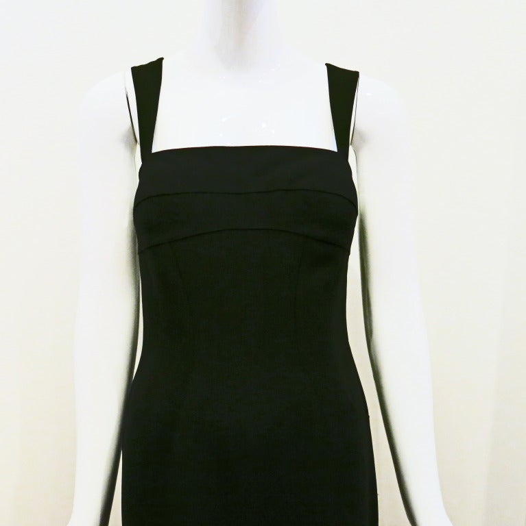 Thierry Mugler 90s Black Body Con Full Length Dress In Excellent Condition For Sale In Brooklyn, NY