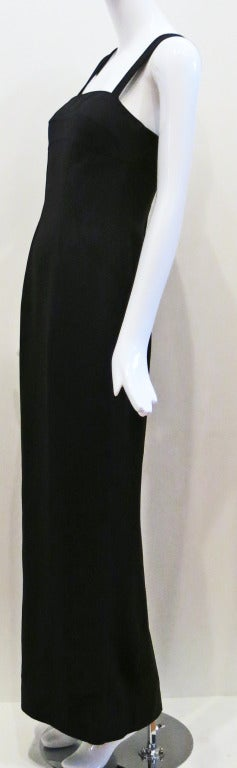 Thierry Mugler 90s Black Body Con Full Length Dress 4