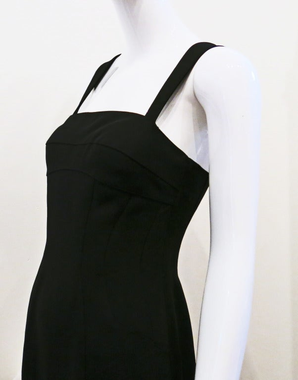 Thierry Mugler 90s Black Body Con Full Length Dress For Sale 1