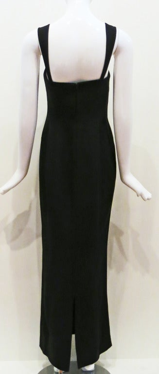 Thierry Mugler 90s Black Body Con Full Length Dress For Sale 2
