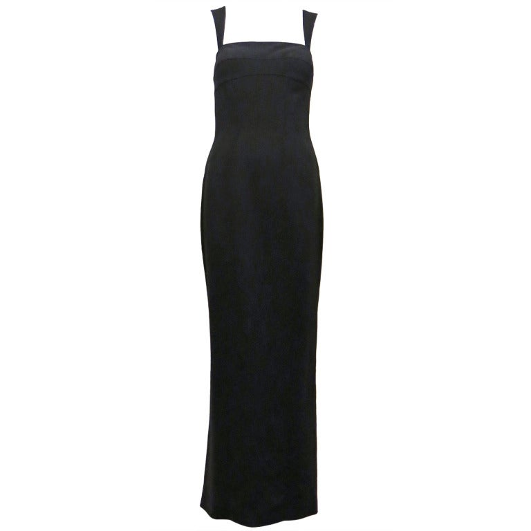 Thierry Mugler 90s Black Body Con Full Length Dress For Sale