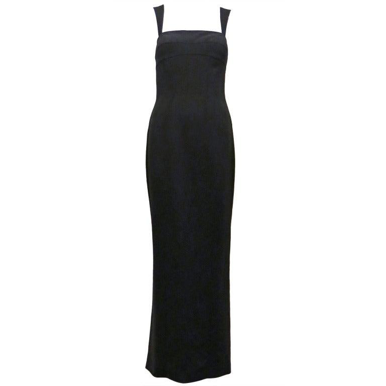 Thierry Mugler 90s Black Body Con Full Length Dress 1