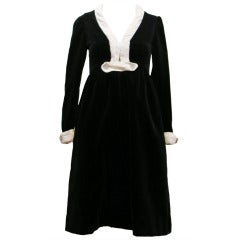 1960's Dominic Rompollo Black Velvet Dress With White Satin Trim