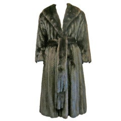 Vintage 1950s Mink Belted Dress Coat with Defined Waist and Full Skirt