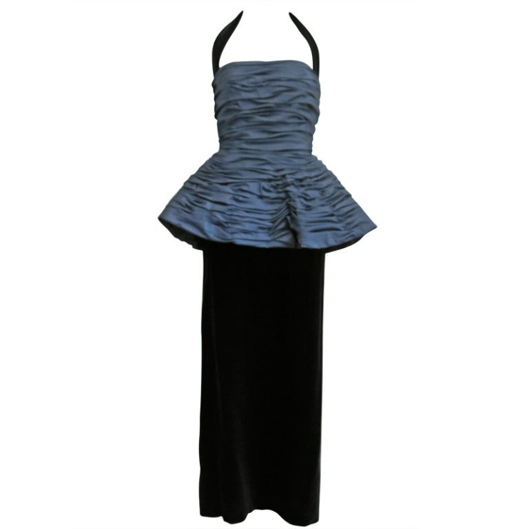 1980s Victor Costa Navy Ruched Peplum Velvet Gown with Detachable Halter Strap