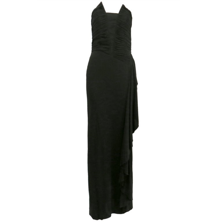 Richilene Black Column Gown with Asymmetrical Ruched Bodice