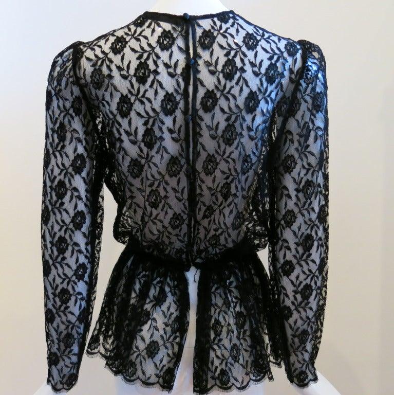 Guy Laroche Black Lace Long Sleeve Peplum Blouse 3