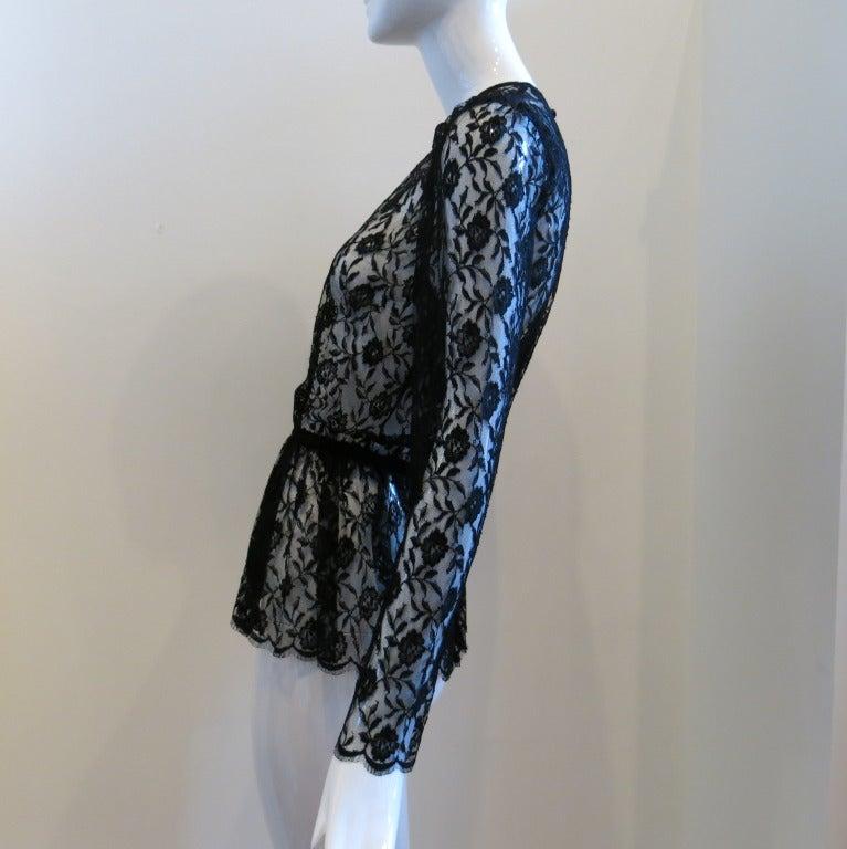 Guy Laroche Black Lace Long Sleeve Peplum Blouse 4