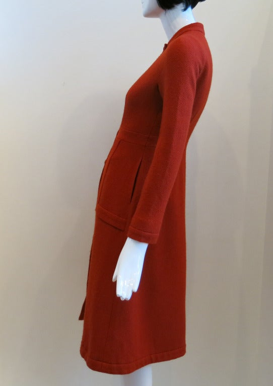 Vintage Sybilla Red/Orange Nubby Wool Coat at 1stdibs
